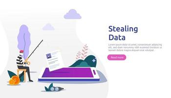 internet security concept with tiny people character. password phishing attack. stealing personal data. web landing page, banner, presentation, social, and print media template. Vector illustration