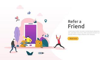 refer a friend strategy and affiliate marketing concept . people character sharing referral business partnership and earn money. template for web landing page, banner, poster, print media vector
