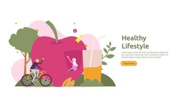 active healthy lifestyle habits concept. Dieting food nutrition illustration with character. sport exercising and training outdoor workout for web page, presentation, social promotion or print media vector