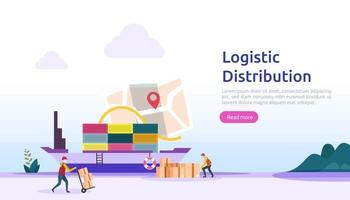 global logistic distribution service illustration concept. delivery worldwide import export shipping banner with people character for web landing page, presentation, social, poster or print media vector