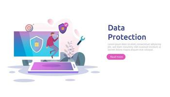 Safety and confidential data protection. VPN internet network security. Traffic encryption personal privacy concept with people character. web landing page, banner, presentation, social or print media vector
