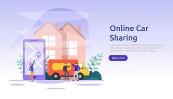 Online car sharing or rental concept. mobile city transportation with navigation smartphone, online map, GPS and people character for web landing page template, banner, presentation, ad or print media vector
