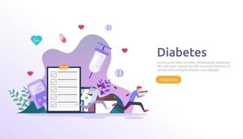 Diabetes mellitus monitoring concept. sugar level blood measures with glucose testing meter. insulin injection treatment and diet control therapy. illustration template for web landing page vector