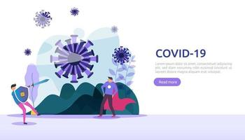 people fight covid-19 corona virus illustration concept. research concept for coronavirus 2019-nCoV vaccine. web landing page template, banner, presentation, social, poster, ad, or print media vector