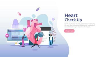 Heart health, disease, cardiology concept with character. hypertension symptoms cholesterol blood pressure measurement. Medical examination doctor checkup services for healthcare and transplantation vector