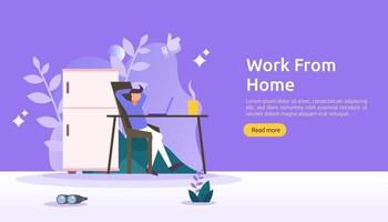 Work at home, coworking space concept design. Freelance sitting at desk, working on laptop at house with people character for web landing page, banner, presentation, social, poster, ad or print media vector