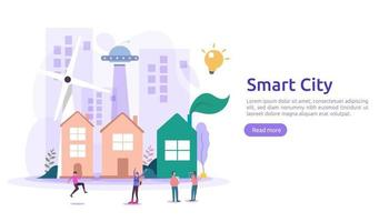 Smart city services concept with internet of things networks and augmented reality. Urban landscape with buildings, skyscrapers, transport traffic. flat style vector illustration for web landing page