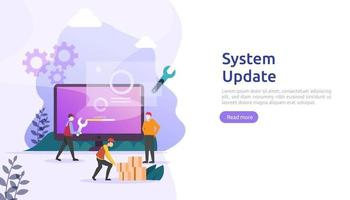 operation system update progress concept. data synchronize process and installation program. illustration web landing page template, banner, presentation, UI, poster, ad, promotion or print media. vector