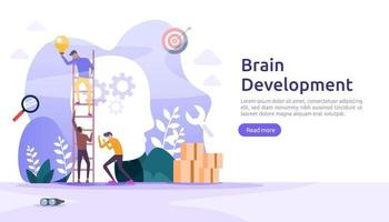 illustration flat design of thinking creative, brain development and mental rest with people character. template for web landing page, banner, presentation, social, poster, promotion or print media vector