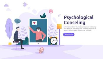 Psychological counseling concept illustration. Psychotherapy practice, psychiatrist consulting patient with people character. template for web landing page, banner, presentation, poster, print media vector