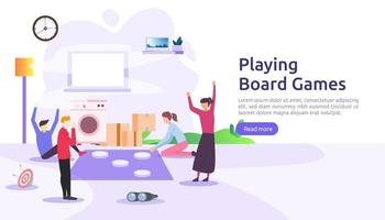 people playing board or tabletop games together concept. illustration template for web landing page, banner, presentation, social, poster, ad, promotion or print media vector