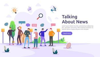 grupo de personas hablan y charlan sobre el concepto de noticias. La red social discute burbujas de discurso de diálogo para diseño web, banner, aplicación móvil, página de destino, diseño plano vectorial vector