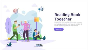 reading book habit. spend time at home during quarantine concept. vector illustration template for web landing page, banner, presentation, social, festival  poster, ad, promotion or print media