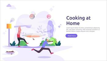 cooks in the kitchen together concept. vector illustration template for web landing page, banner, presentation, social, poster, ad, promotion or print media