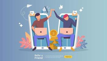 refer a friend affiliate partnership and earn money. marketing concept strategy. people character sharing referral business. template for web landing page, banner, presentation, poster, or print media vector
