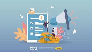 affiliate marketing concept. refer a friend strategy. people character shout megaphone sharing referral business partnership and earn money. template for web landing page, banner, poster, print media vector