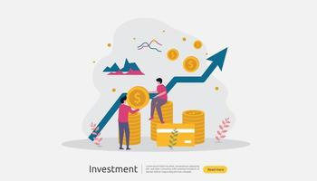 Business investment concept. Returns on investment graphic chart. Financial growth rising up to success. web landing page template, banner, presentation, social, and print media. Vector illustration