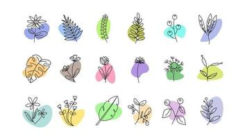 Hand-drawn doodle floral elements. spring and summer theme. flower and plant botanical vector in line art or outline style. can be used for social media highlight story cover icon
