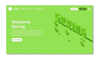 landing page or website spring season isometric illustration greeting with spruce pine tree and wood template vector