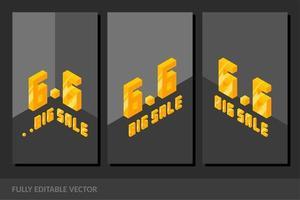 6.6 june online shopping day social media story banner template vector