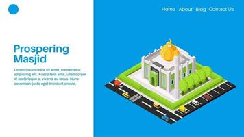 Prospering masjid or mosque landing page with flat isomemtric illustration vector