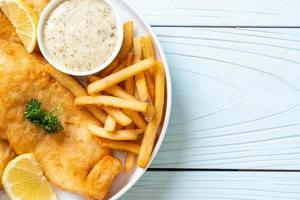 Fish and chips with french fries - unhealthy food photo