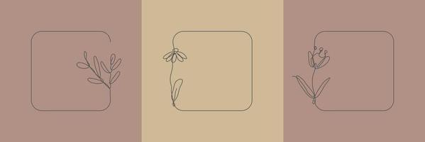 Set Hand Drawn floral Organic grass, Leaves and flower with rounded square frame, Decorative Leaf element. Line art Vector Illustration for social media, wedding, invitation, logo, cosmetic