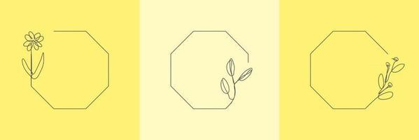 Set Hand Drawn floral Organic grass, Leaves and flower with octagon frame, Decorative Leaf element. Line art Vector Illustration for social media, wedding, invitation, logo, cosmetic