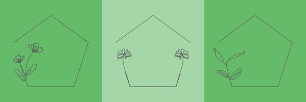 Set Hand Drawn floral Organic grass, Leaves and flower with pentagon frame, Decorative Leaf element. Line art Vector Illustration for social media, wedding, invitation, logo, cosmetic