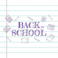 back to school pen sketch greeting text on paper vector