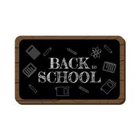 back to school chalk greeting text on black board vector
