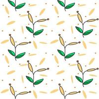 orange grass floral seamless pattern for background, textile, print vector