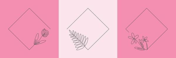 Establecer hierba orgánica floral dibujada a mano, hojas y flores con marco de rombo, elemento decorativo de hoja. Ilustración de vector de arte lineal para redes sociales, boda, invitación, logotipo, cosmética
