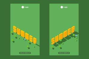 summer season isometric illustration for social media status and story vector