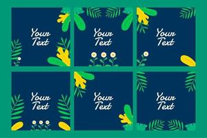 beautiful square social media post with tropical leaves decoration for business, greeting, invitation, promo, party etc with tropical summer or spring theme vector