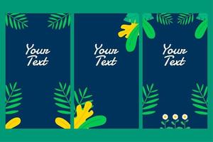 beautiful social media story or status with tropical leaves decoration for business, greeting, invitation, promo, party etc with tropical summer or spring theme vector