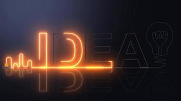 IDEA neon light with light bulb. video