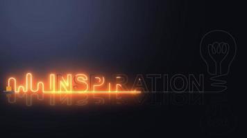 INSPIRATION neon light with light bulb. video
