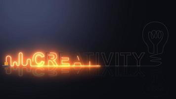 CREATIVITY neon light with light bulb. video