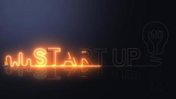 STARTUP neon light with light bulb. video