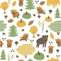 Boar family is in the forest seamless pattern. Autumn hog, little piglets animals are happy. Vector childish illustration of hand drawn leaves, acorn, pumpkin, mushrooms, christmas trees