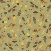 Autumn oak leaves, acorn, birch aspen mushrooms, nuts, chestnuts seamless pattern. Vector illustration of hand drawn forest nature objects, flat style