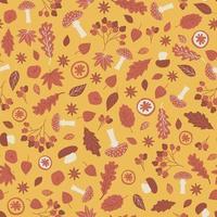 patrón transparente de elementos de bosque amarillo rojo. ilustración vectorial consta de hojas roble arce álamo temblón manzana naranja setas amanita viburnum vino caliente especias canela boletus porcini fresno bayas vector