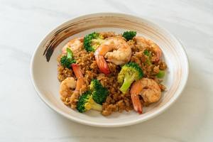 Fried rice with broccoli and shrimp - Homemade food style photo