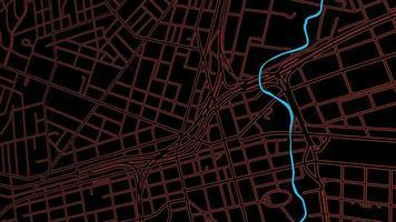 Animación de una vista aérea del mapa nocturno con edificios en 3D y ruta móvil de destino con grano video