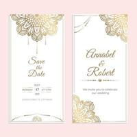 Wedding invitation stories for social media cover template with round mandala golden elements. Luxury modern ethnic lace mandalas ornament card. Save the Date vector. vector