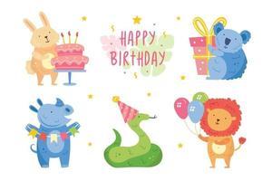 feliz cumpleaños set. lindos animales celebrando juntos. conejo koala rinoceronte serpiente león. Ilustración de vector de decoración de vacaciones para niños aislados sobre fondo blanco