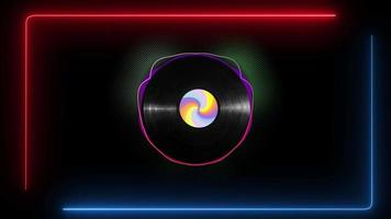 Vinyl disk with a colorful sticker rotating and visual audio lines moving to the beat of music on black background. video