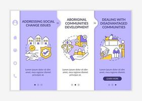 Social unit development targets onboarding vector template. Responsive mobile website with icons. Web page walkthrough 3 step screens. Addressing social issues color concept with linear illustrations