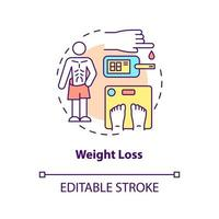 Weight loss concept icon. Loosing kilograms. Disease troubles. Medical help. Curing diabetes abstract idea thin line illustration. Vector isolated outline color drawing. Editable stroke